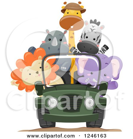 Clipart of African Safari Animals Riding in a Jeep - Royalty Free Vector Illustration by BNP Design Studio