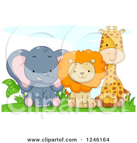 Clipart of a Cute Baby Elephant Lion and Giraffe Sitting - Royalty Free Vector Illustration by BNP Design Studio