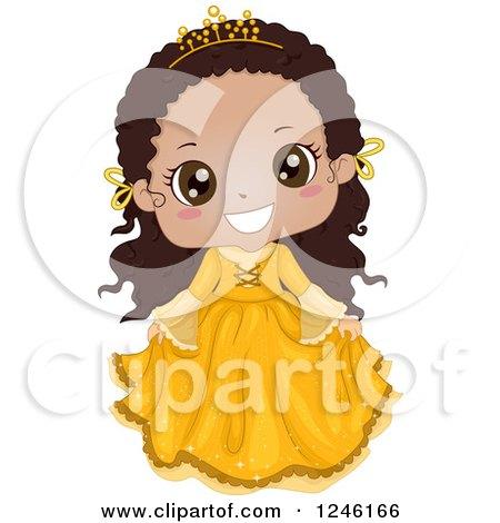 Cute Bkacj African Princess Girl in a Yellow Dress Posters, Art Prints
