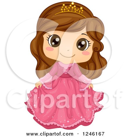 Clipart of a Cute Brunette Princess Girl in a Pink Dress - Royalty Free Vector Illustration by BNP Design Studio