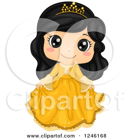 Clipart of a Cute Asian Princess Girl in a Yellow Dress - Royalty Free Vector Illustration by BNP Design Studio