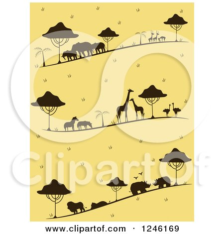 Clipart of a Yellow Background with Silhouetted Safari Animals - Royalty Free Vector Illustration by BNP Design Studio