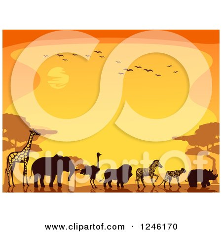 Clipart of Silhouetted Safari Animals Walking Against an Orange Sunset - Royalty Free Vector Illustration by BNP Design Studio