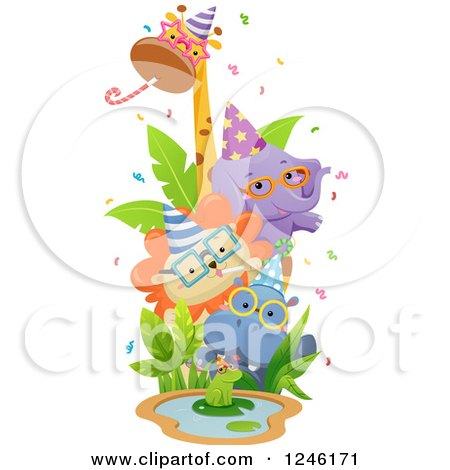 Clipart of African Safari Party Animals Around a Sign - Royalty Free Vector Illustration by BNP Design Studio