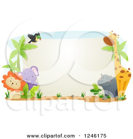Clipart of Safari Animals Around a Blank Sign - Royalty Free Vector Illustration by BNP Design Studio