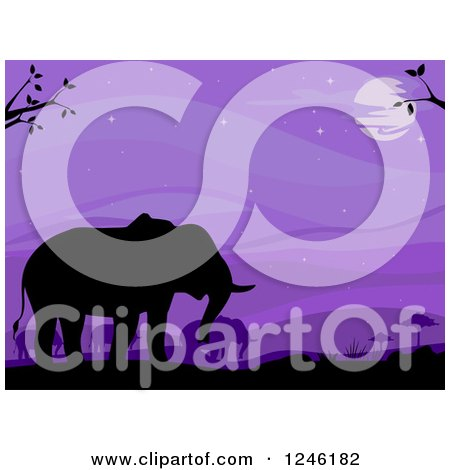 Clipart of Silhouetted Elephants and Purple Sky - Royalty Free Vector Illustration by BNP Design Studio