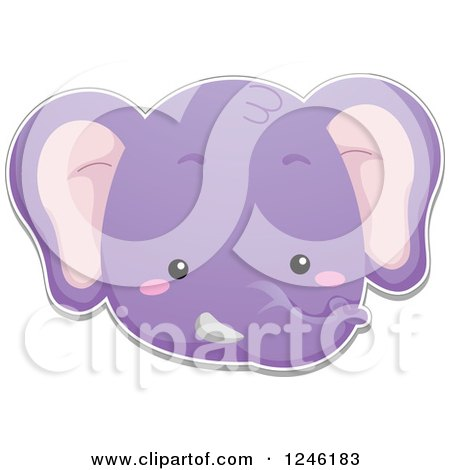 Clipart of a Purple Elephant Face - Royalty Free Vector Illustration by BNP Design Studio