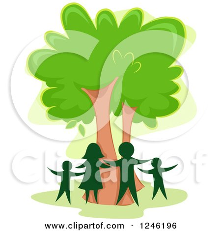 Clipart of a Silhouetted Family Around a Tree - Royalty Free Vector Illustration by BNP Design Studio