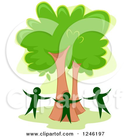 Clipart of Three People Circling a Tree - Royalty Free Vector Illustration by BNP Design Studio