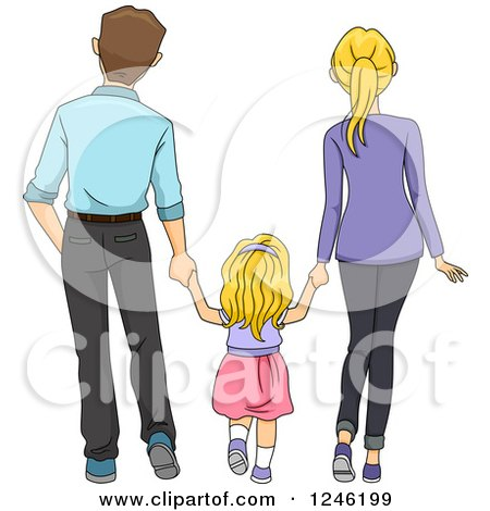 Clipart of a Rear View of a Daughter Walking and Holding Hands with Her Parents - Royalty Free Vector Illustration by BNP Design Studio