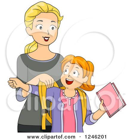 Clipart of a Caucasian Mother Helping Her Daughter Get Ready for School - Royalty Free Vector Illustration by BNP Design Studio