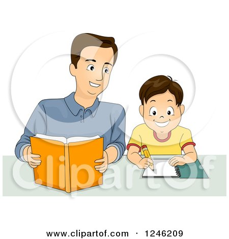 Clipart of a Happy Father Helping His Son with Homework - Royalty Free Vector Illustration by BNP Design Studio