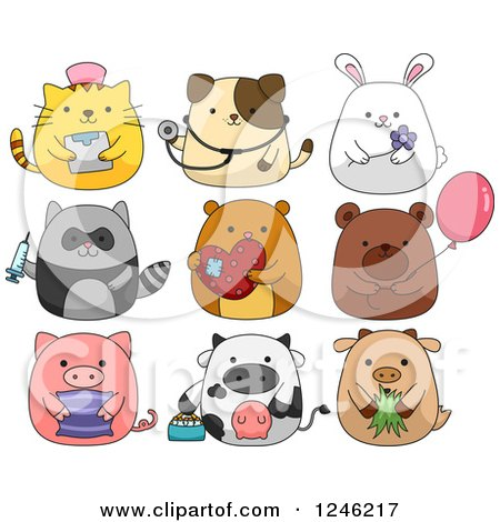 Clipart of Cute Animals - Royalty Free Vector Illustration by BNP Design Studio