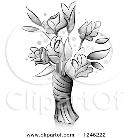 Clipart of a Grayscale Bouquet of Flowers - Royalty Free Vector Illustration by BNP Design Studio