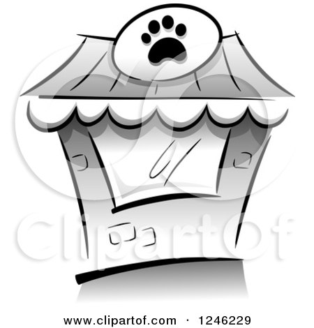 Clipart of a Grayscale Pet Shop Building - Royalty Free Vector Illustration by BNP Design Studio