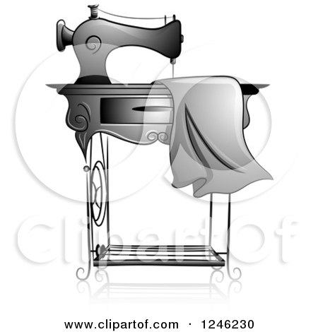 Grayscale Sewing Machine with Fabric Posters, Art Prints