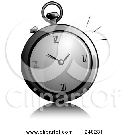 Clipart of a Grayscale Stop Watch - Royalty Free Vector Illustration by BNP Design Studio