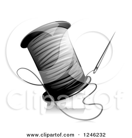 Clipart of a Grayscale Needle and Thread - Royalty Free Vector Illustration by BNP Design Studio