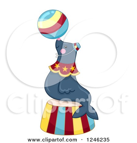 Clipart of a Circus Sea Lion Balancing a Ball on a Podium - Royalty Free Vector Illustration by BNP Design Studio