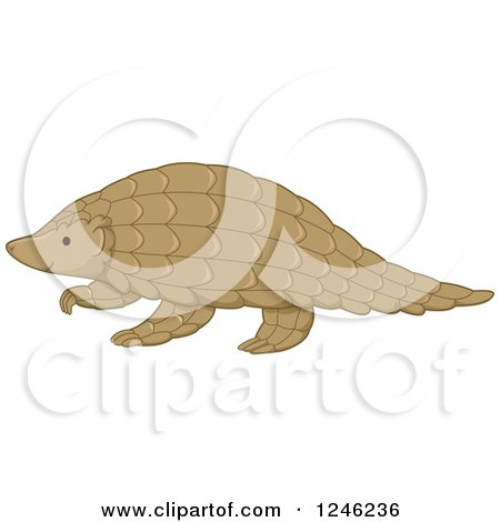 Clipart of a Walking Pangolin - Royalty Free Vector Illustration by BNP Design Studio