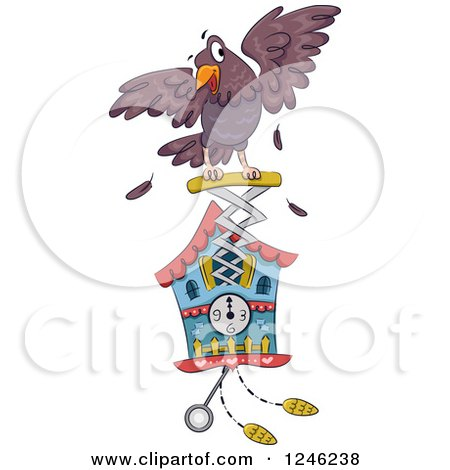 Clipart of a Bird Popping out of a Cuckoo Clock - Royalty Free Vector Illustration by BNP Design Studio