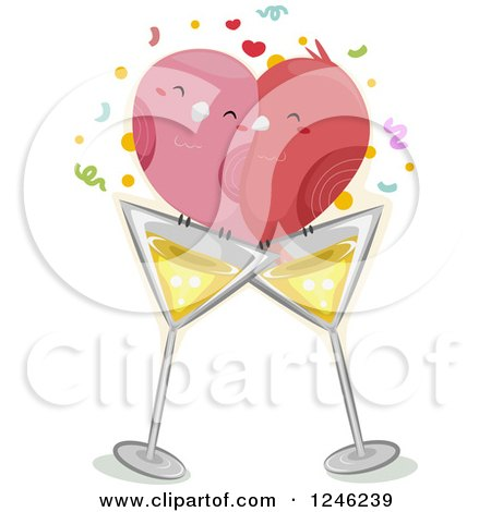 Clipart of a Pair of Love Birds on Cocktail Glasses - Royalty Free Vector Illustration by BNP Design Studio