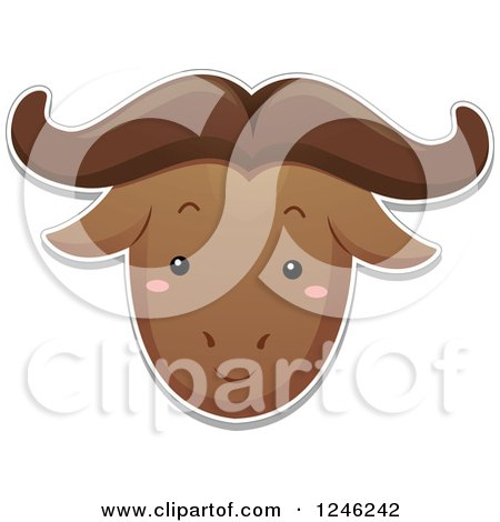 Clipart of a Safari Zoo Animal Wildebeest Face - Royalty Free Vector Illustration by BNP Design Studio