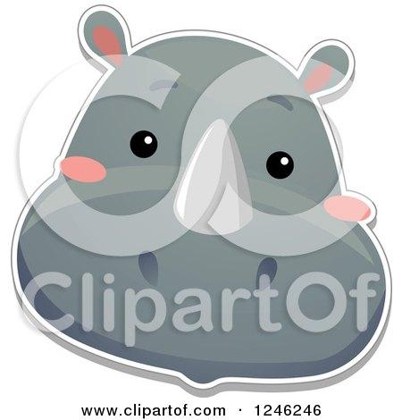 Clipart of a Safari Zoo Animal Rhino Face - Royalty Free Vector Illustration by BNP Design Studio