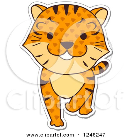 Clipart of a Patterned Safari Zoo Animal Tiger - Royalty Free Vector Illustration by BNP Design Studio