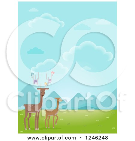 Clipart of Deer with Birds in a Valley - Royalty Free Vector Illustration by BNP Design Studio
