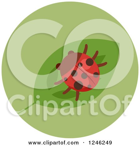 Clipart of a Round Green Ladybug Icon - Royalty Free Vector Illustration by BNP Design Studio
