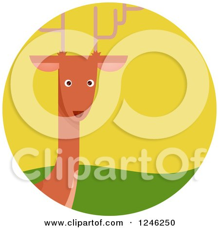 Clipart of a Round Deer Icon - Royalty Free Vector Illustration by BNP Design Studio
