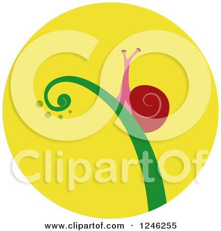 Clipart of a Round Yellow Snail Icon - Royalty Free Vector Illustration by BNP Design Studio