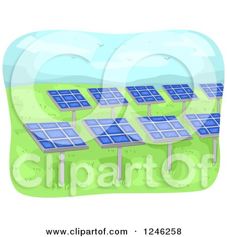 Clipart of a Solar Energy Farm with Panels - Royalty Free Vector Illustration by BNP Design Studio