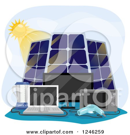 Clipart of a Sun and Solar Panels Powering Appliances - Royalty Free Vector Illustration by BNP Design Studio