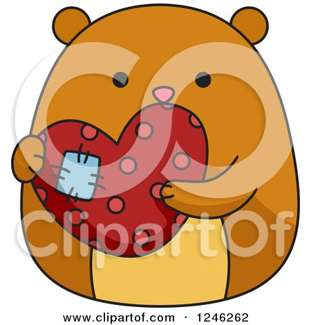 Clipart of a Hamster Holding a Patched Heart - Royalty Free Vector Illustration by BNP Design Studio