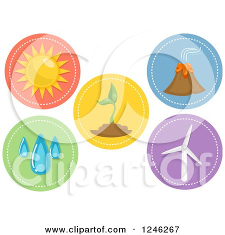 Clipart of Round Renewable Energy Icons - Royalty Free Vector Illustration by BNP Design Studio