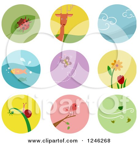 Clipart of Round Colorful Nature and Wildlife Icons - Royalty Free Vector Illustration by BNP Design Studio