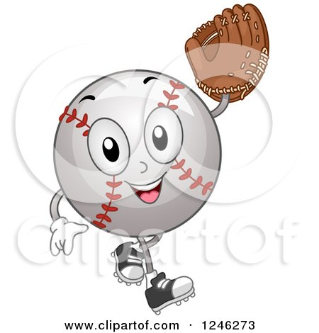 Clipart of a Baseball Mascot Holding up a Glove - Royalty Free Vector Illustration by BNP Design Studio