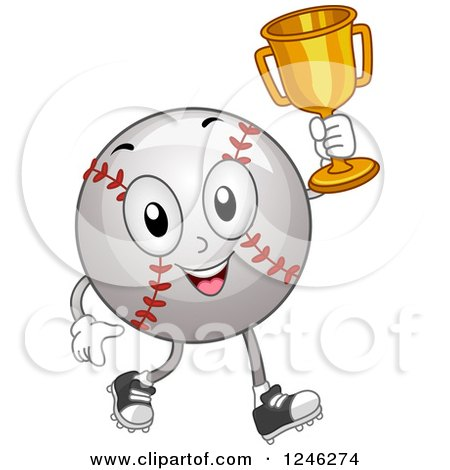 Clipart of a Champion Baseball Mascot Holding up a Trophy - Royalty Free Vector Illustration by BNP Design Studio