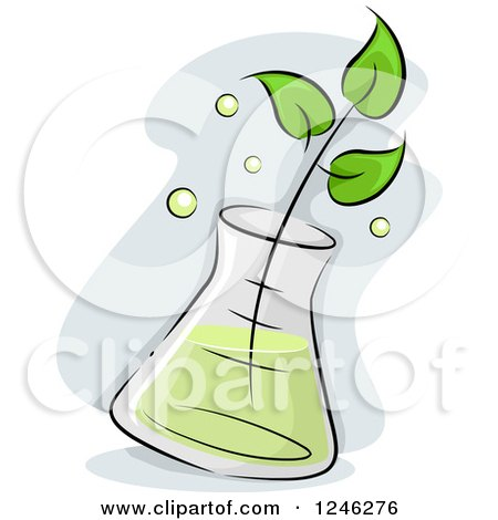 Clipart of a Seedling Plant Soaking in an Erlenmeyer Flask - Royalty Free Vector Illustration by BNP Design Studio