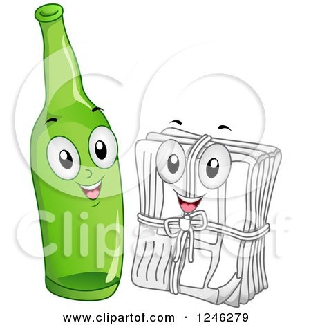 Clipart of a Recycle Glass Bottle and Stack of Newspaper Characters - Royalty Free Vector Illustration by BNP Design Studio