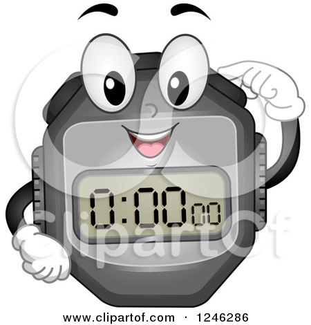 Clipart of a Stopwatch Character Pushing a Button - Royalty Free Vector Illustration by BNP Design Studio