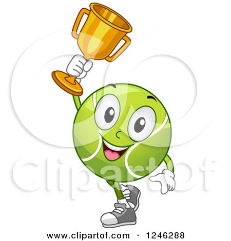 Clipart of a Tennis Ball Character Holding up a Trophy - Royalty Free Vector Illustration by BNP Design Studio