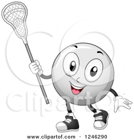 Clipart of a Lacrosse Ball Mascot Holding a Stick - Royalty Free Vector Illustration by BNP Design Studio