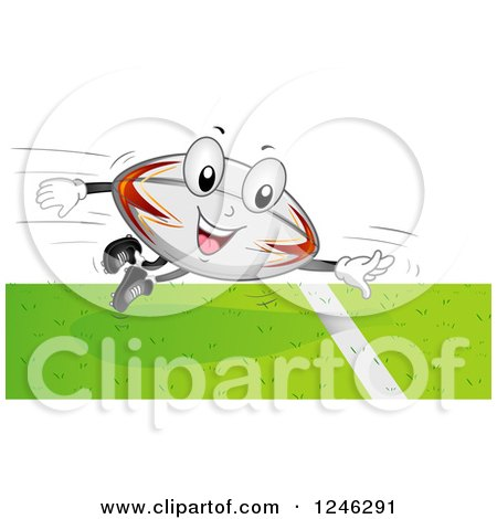 Clipart of a Flying Rugby Football Mascot Scoring a Touchdown - Royalty Free Vector Illustration by BNP Design Studio