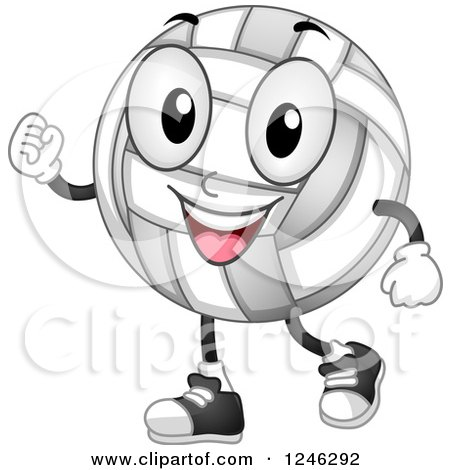 Clipart of a Volleyball Character with Clenched Fists - Royalty Free Vector Illustration by BNP Design Studio