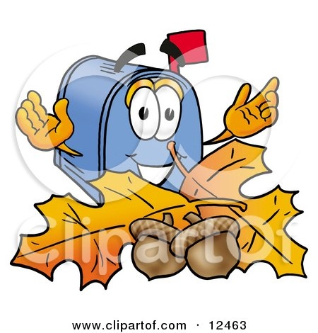 Clipart Picture of a Blue Postal Mailbox Cartoon Character With Autumn Leaves and Acorns in the Fall by Toons4Biz