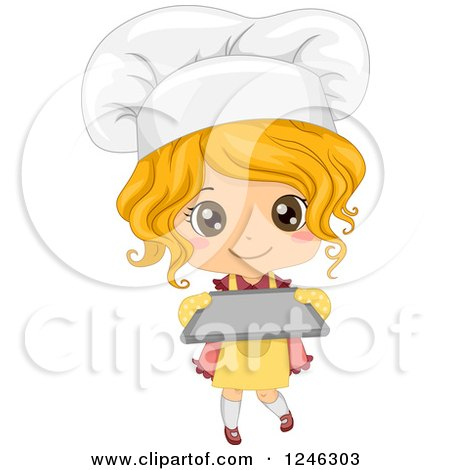 Clipart of a Cute Blond Toddler Chef Girl Holding a Baking Sheet - Royalty Free Vector Illustration by BNP Design Studio