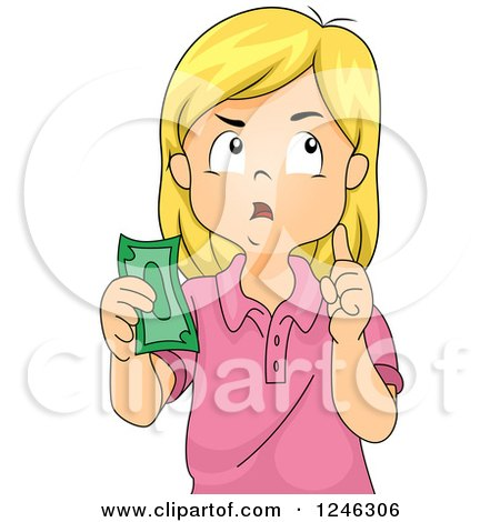 Clipart of a Blond Caucasian Girl Thinking and Holding Money - Royalty Free Vector Illustration by BNP Design Studio